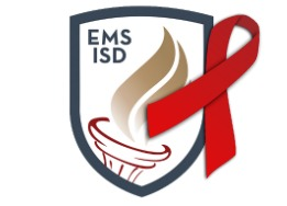 EMS ISD Logo with Red Ribbon overlay